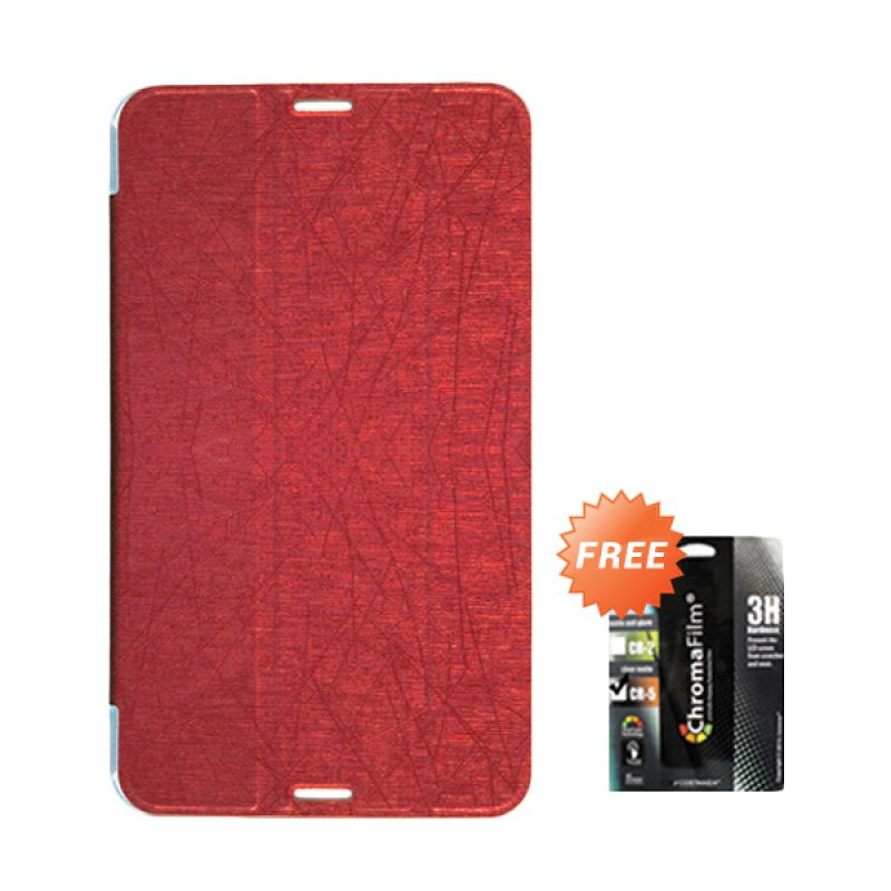 Transcover Book Cover Merah Casing for Asus Fonepad 7 FE170CG + Screen Protector