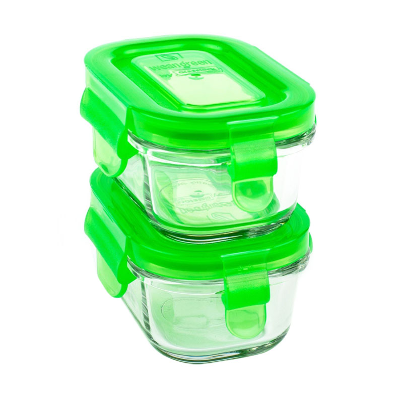 Wean Green Lunch Cubes Set Kotak Makan [490 mL/2 pcs]