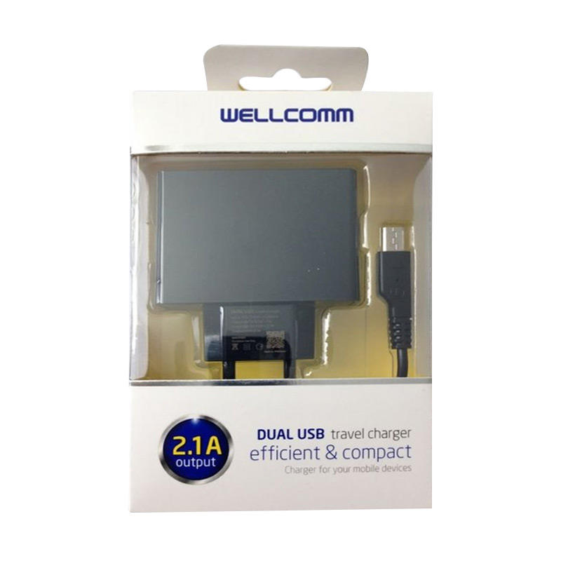 Wellcomm Dual USB Hitam Charger [2.1A]