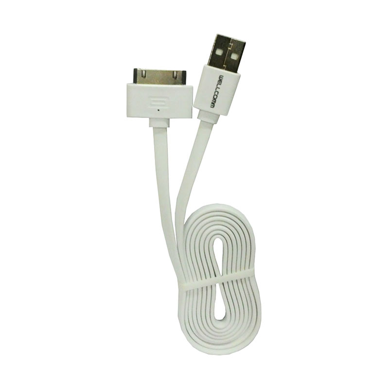 Wellcomm Flat Kabel Data for iPhone 4 or 4s - Putih [1.5 m]