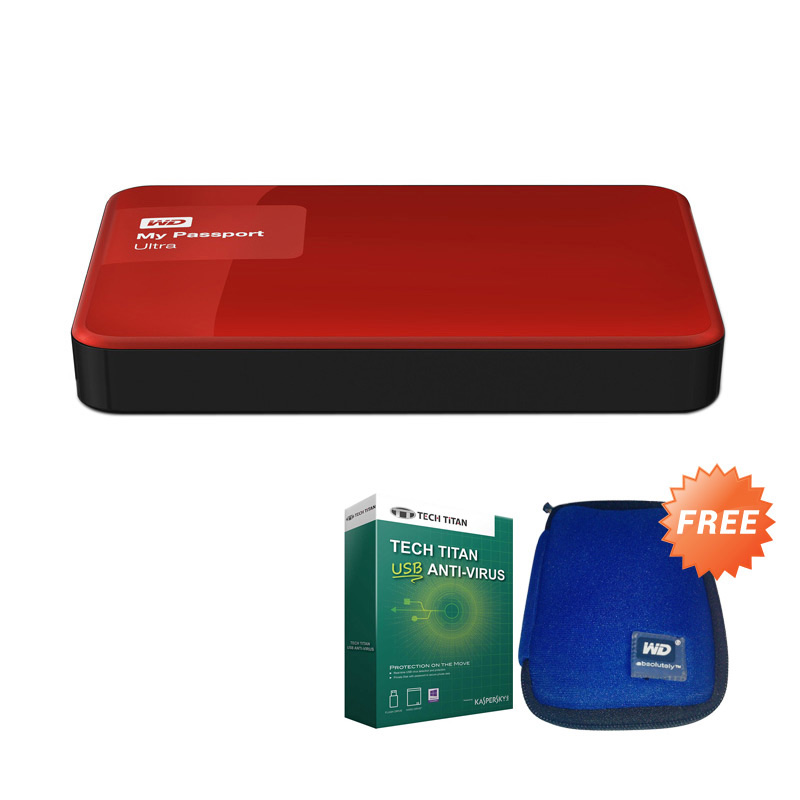 CIMB Octopay - WD My Passport Ultra NEW Premium Red Hard Disk Eksternal [2 TB] + Anti Virus + Pouch