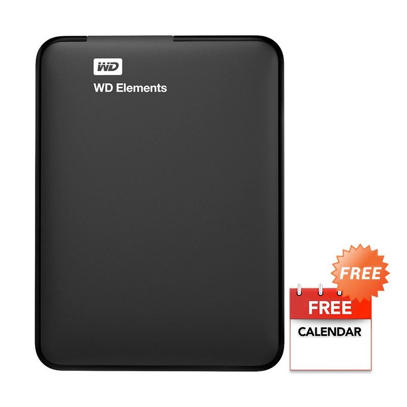 WD Elements Black Hard Disk Eksternal [500 GB/ 2.5 Inch / USB 3.0 ] + Kalender