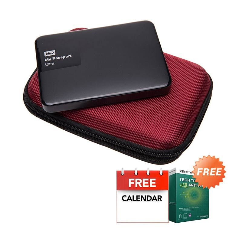 WD My Passport Ultra NEW Premium Black Hard Disk External [1 TB] + Anti Virus + Hard Case Merah + Kalender
