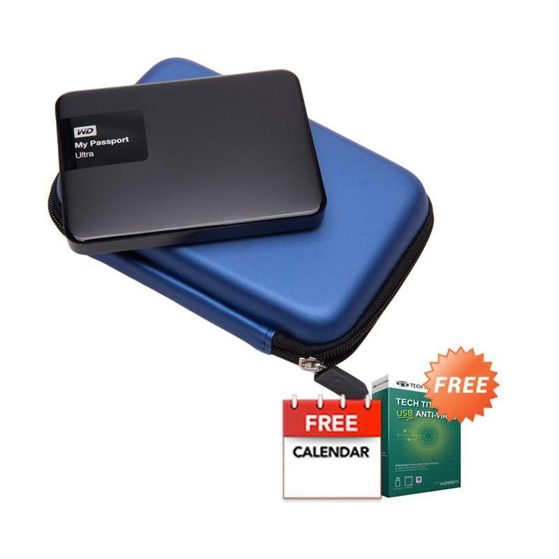 WD My Passport Ultra NEW Premium Black Hard Disk External [2 TB] + Anti Virus + Hard Case Biru + Kalender