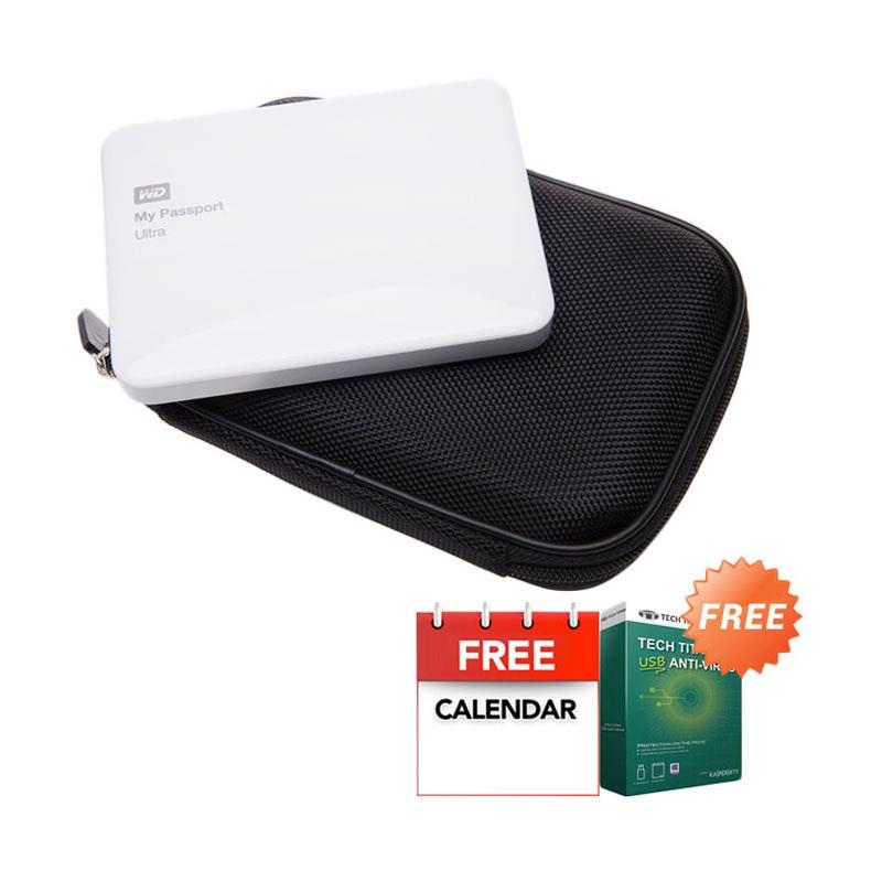 WD My Passport Ultra NEW Premium White Hard Disk External [1 TB] + Anti Virus + Hard Case Hitam + Kalender