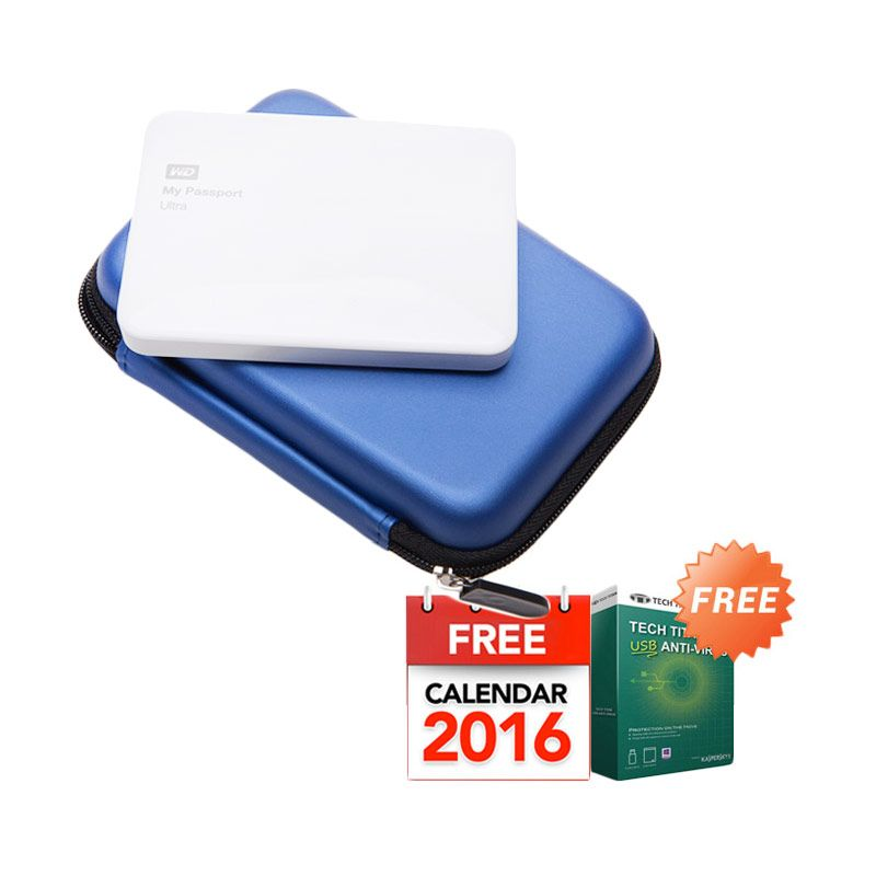 WD My Passport Ultra NEW Premium White Hard Disk External [500 GB] + Anti Virus + Hard Case Biru + Kalender 2016