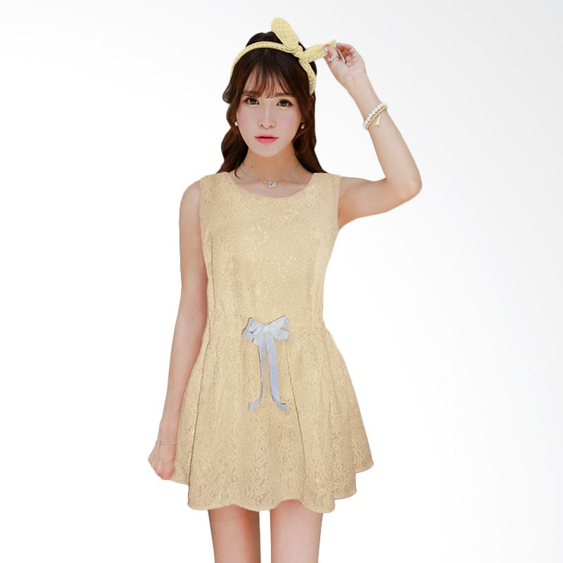Artistic Taste Lace Cream Yellow Dress