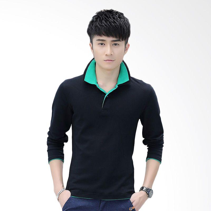 Upstyle Man 103 Black Green Kaos Polo Pria