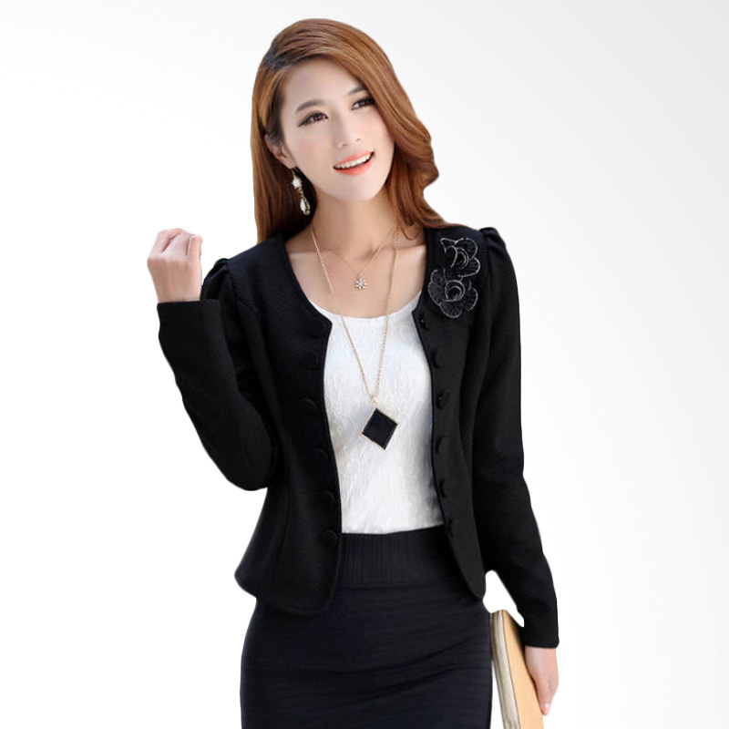 White Lotus 215 Flower Blazer - Black