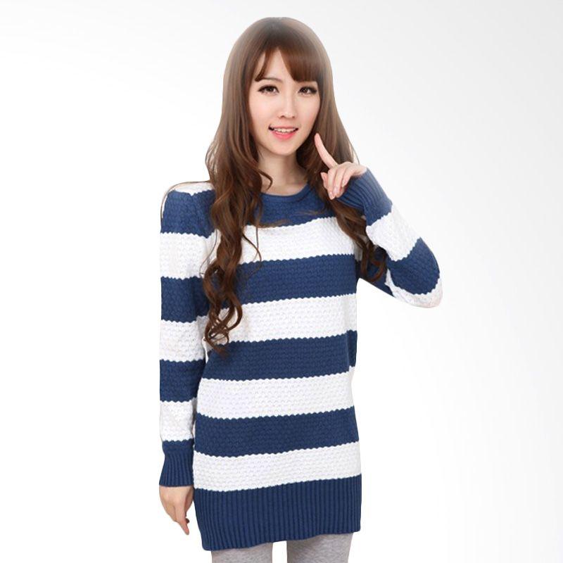 White Lotus WJ-208 Knit Blue White Sweater Wanita