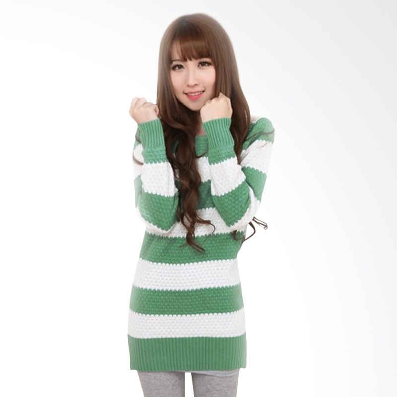 White Lotus WJ-208 Knit Green White Sweater Wanita