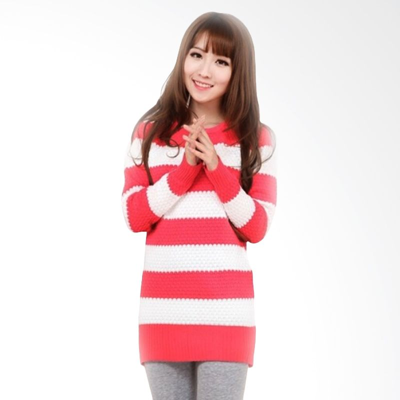White Lotus WJ-208 Knit Light Red White Sweater Wanita