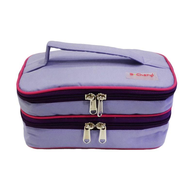 D'Cheryl Cosmetic Bag Organizer 2 Tingkat CBODC Ungu List Magenta