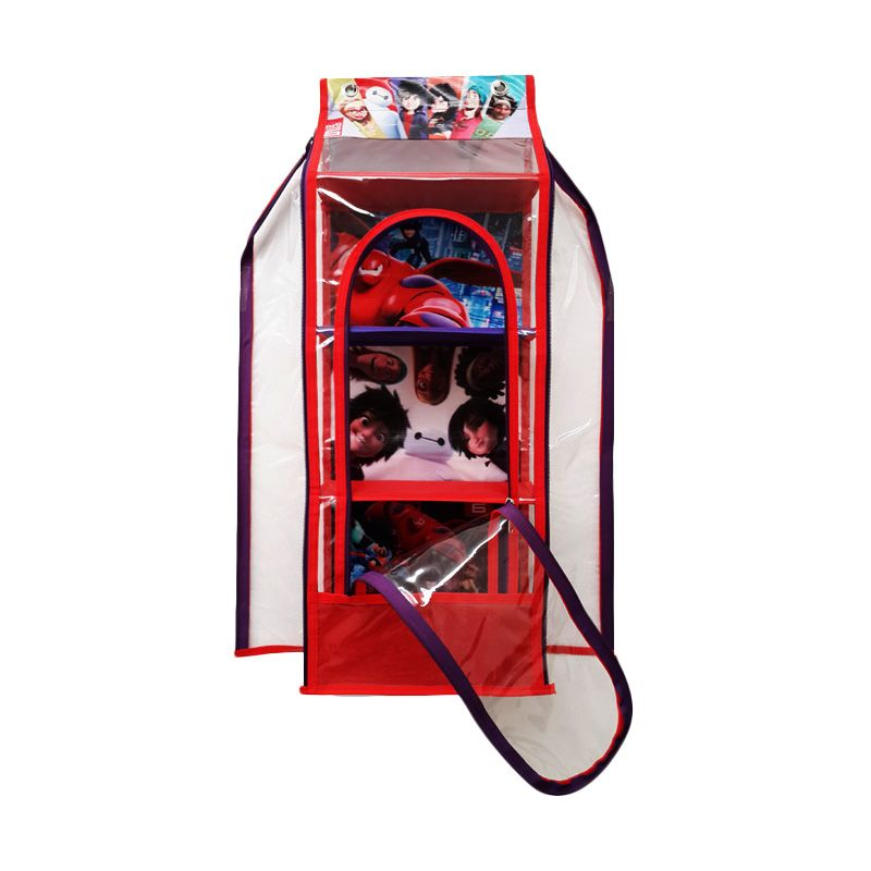 Moreniq HTR-B Hanging Toys Rack Zipper Big Hero Merah Rak Multifungsi