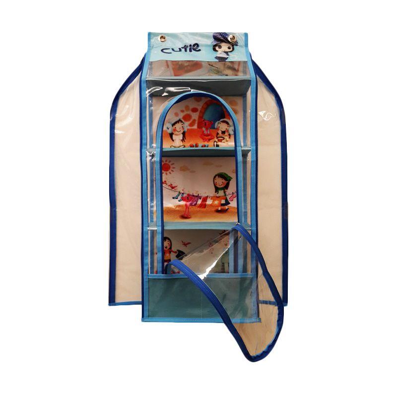 Moreniq HTR-B Hanging Toys Rack Zipper Cutie Biru Muda Rak Multifungsi