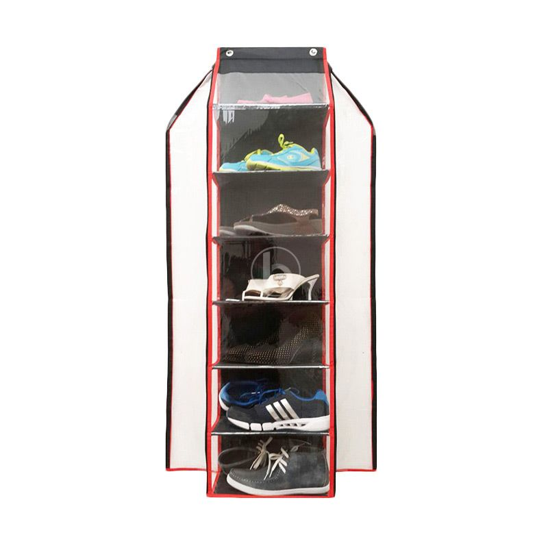 Morning HSJZ-B Hitam Merah Shoes Organizer