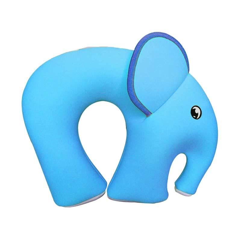 Nohoo Neck Rest Elephant Biru Bantal Leher