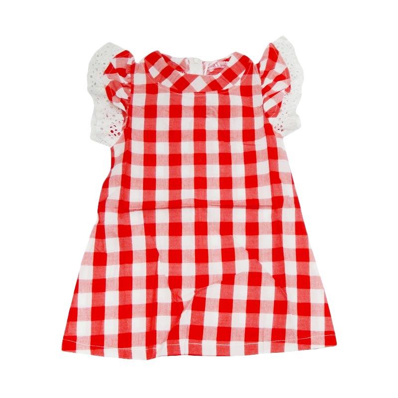 Wonderland Kotak Kotak Dress Anak - Merah