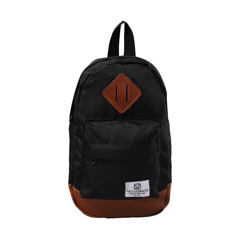 Woodbags Original with Brown List Shoulder Tas Pria - Black