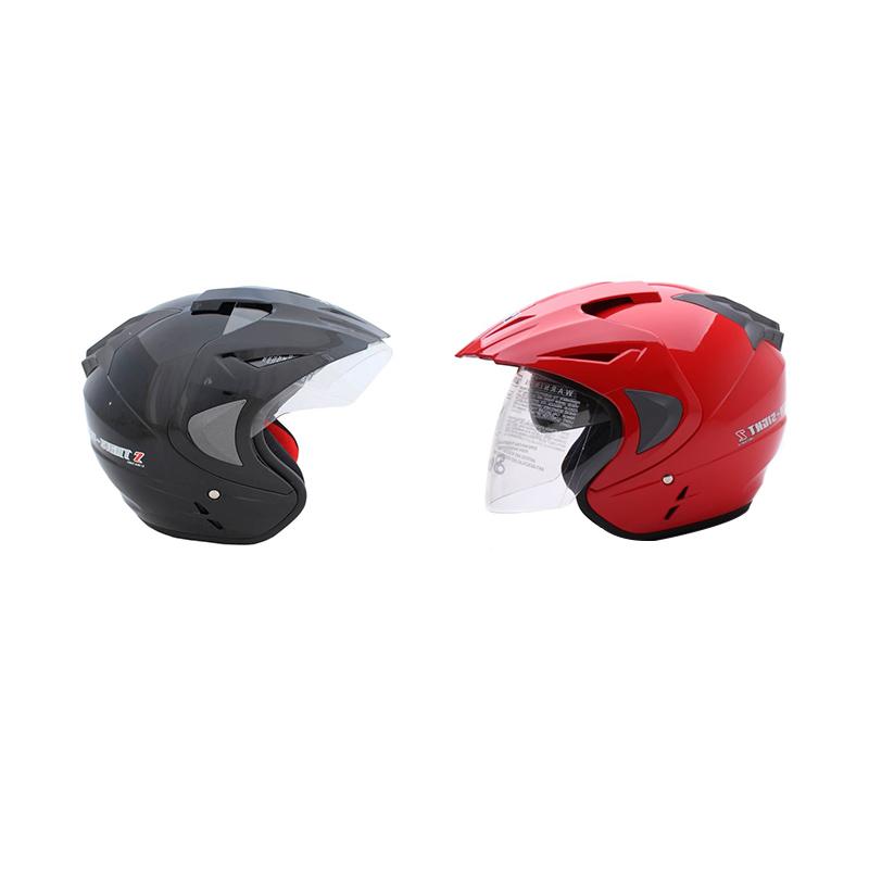 Jual Couple Helmet WTO Pro Sight Hitam Dan Merah Helm Open