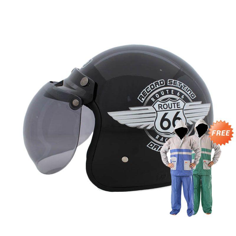 Jual WTO Helmet Retro Bogo 66 Hitam Helm Half Face Online