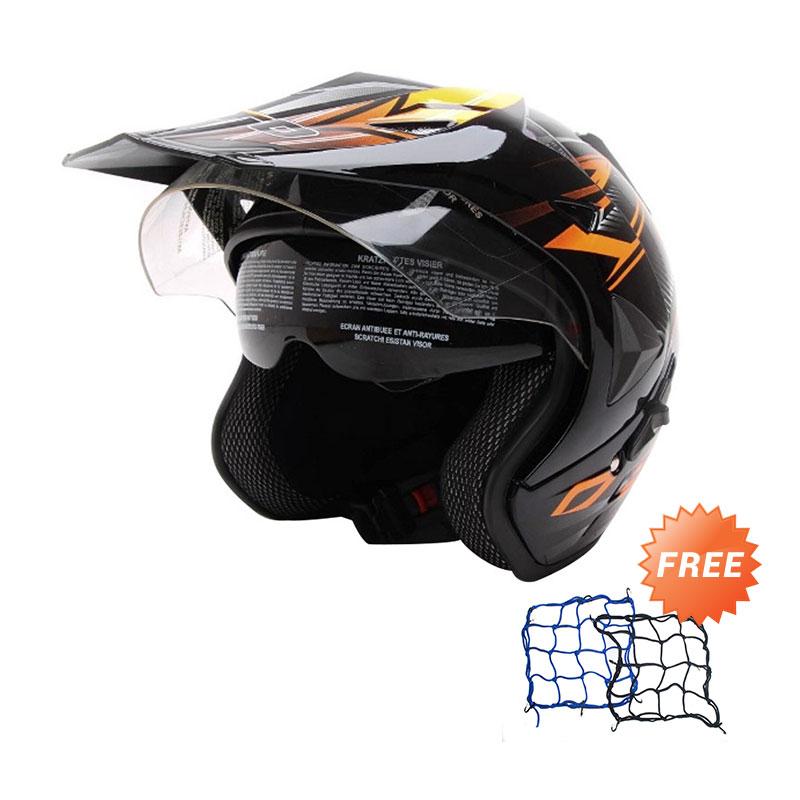 Jual WTO Helmet Pro Sight Cross Hitam Oren Helm Half Face