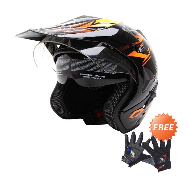 WTO Helmet Pro Sight Cross Hitam Oren Helm Half Face Free Sarung Tangan Pria