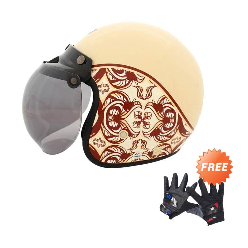 harga WTO Helmet Retro Bogo Classic Batik Krem Helm Half Face + Free Sarung Tangan Pria Blibli.com