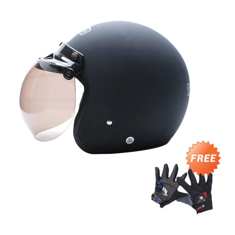 harga WTO Helmet Retro Bogo Helm Half Face - Hitam Doff + Free Sarung Tangan Pria Blibli.com