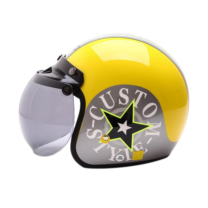harga WTO Retro Bogo Custom Style Helm Half Face - Yellow Silver Blibli.com