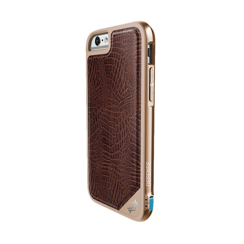 X-DORIA Defense Lux Case Casing for iPhone 6s Plus / iPhone 6 Plus - BROWN  CROCS / GOLD