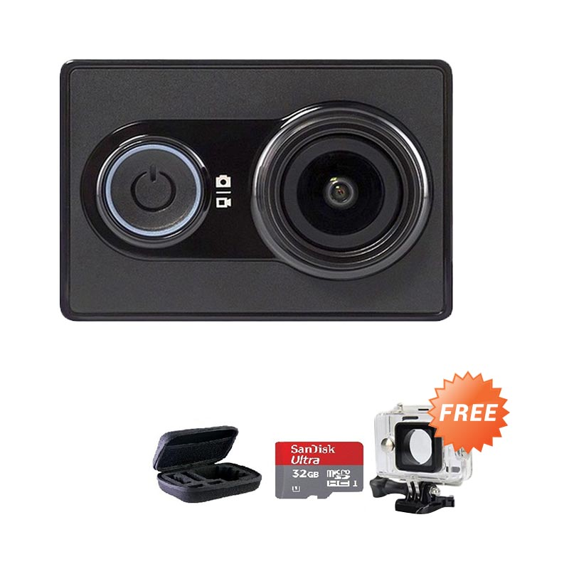harga Xiaomi Basic International Action Camera + Free Housing + Sandisk Ultra Kartu Memori 32 GB + Medium Bag Blibli.com