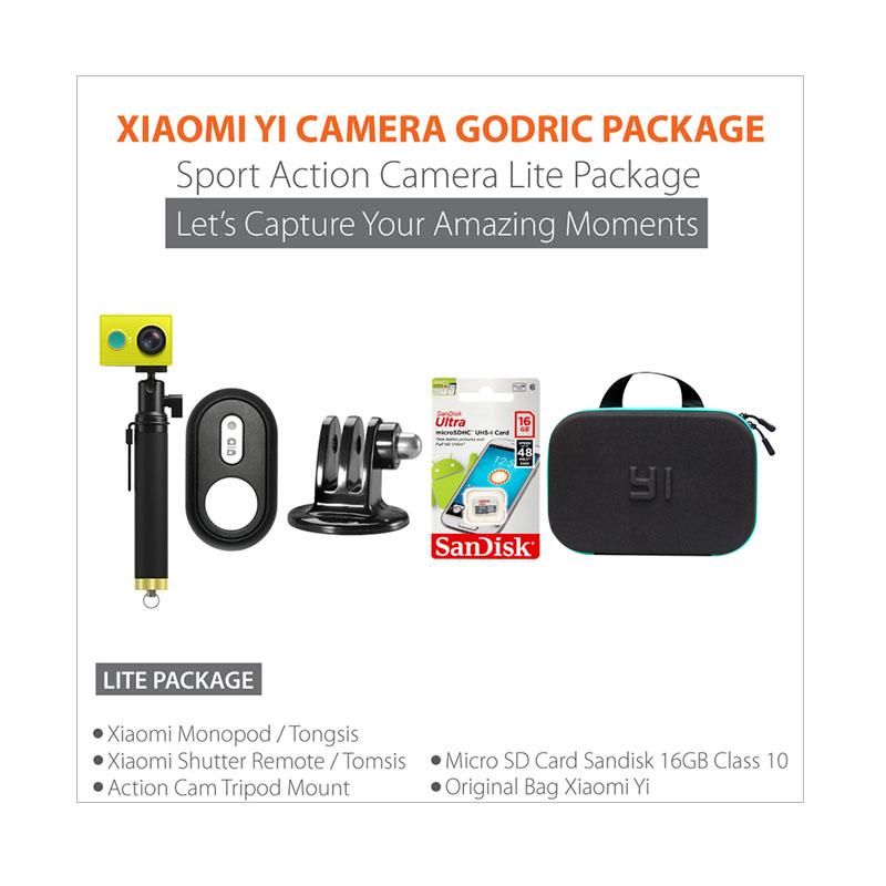 Jual Xiaomi Yi International Paket Combo Hemat Godric Action Camera Original + Gratis Bundling Bonus - Putih Online - Harga & Kualitas Terjamin | Blibli.com