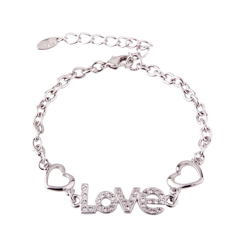 Yadas Korea Lapis Emas LOVE Silver Gelang Wanita