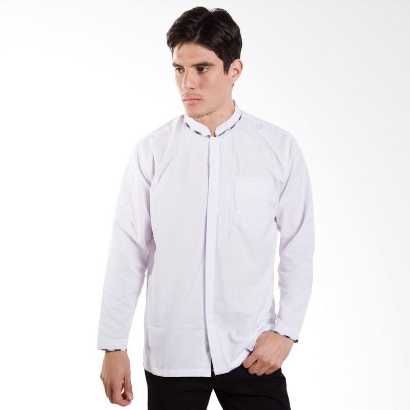Yege  Lebaran Collection Solid Texture Combination White Baju Koko
