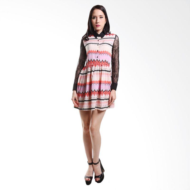 Dress Wanita Yuka Dress fashion Peach Midi Dress