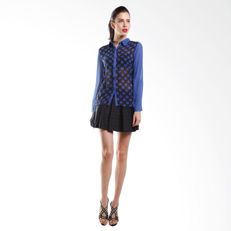 harga Kemeja Wanita Yuka blue polka Kemeja Blouse Midi Rok Korea Blibli.com
