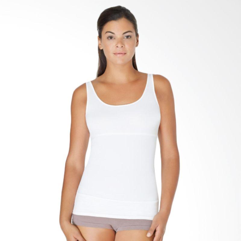 Yummie Tummie Tanktop Tiga Panel Pearl Scoop Tank Putih Shapewear Korset Slimming