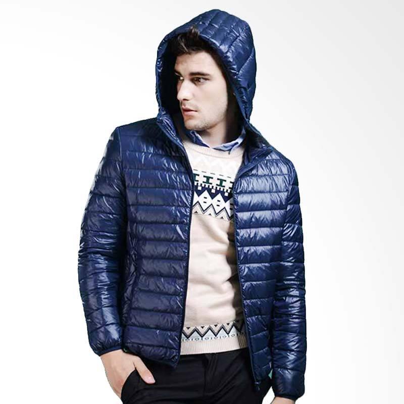 ZcoLand Winter Kapucong Lipat Jaket Pria - Biru Dongker