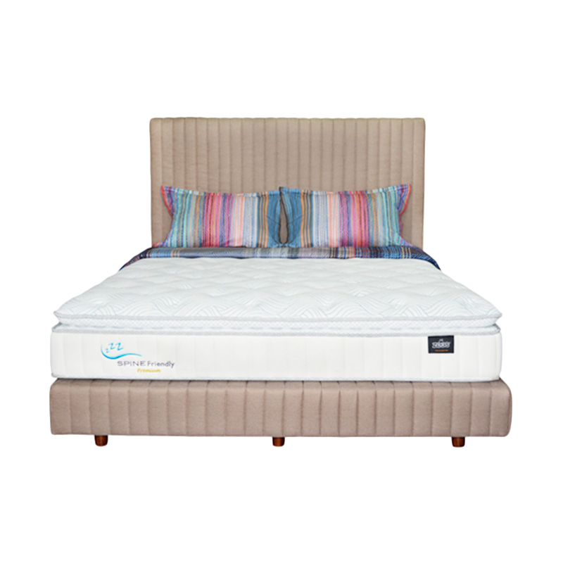 Zees Spine Friendly Premium Kasur Spring Bed [120 x 200 cm] + Free Divan + Headboard