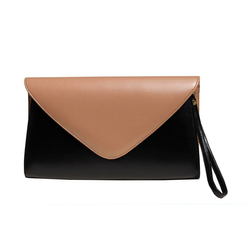 Zorra Chamomile Two Tone Clutch Bag Black & Mocca