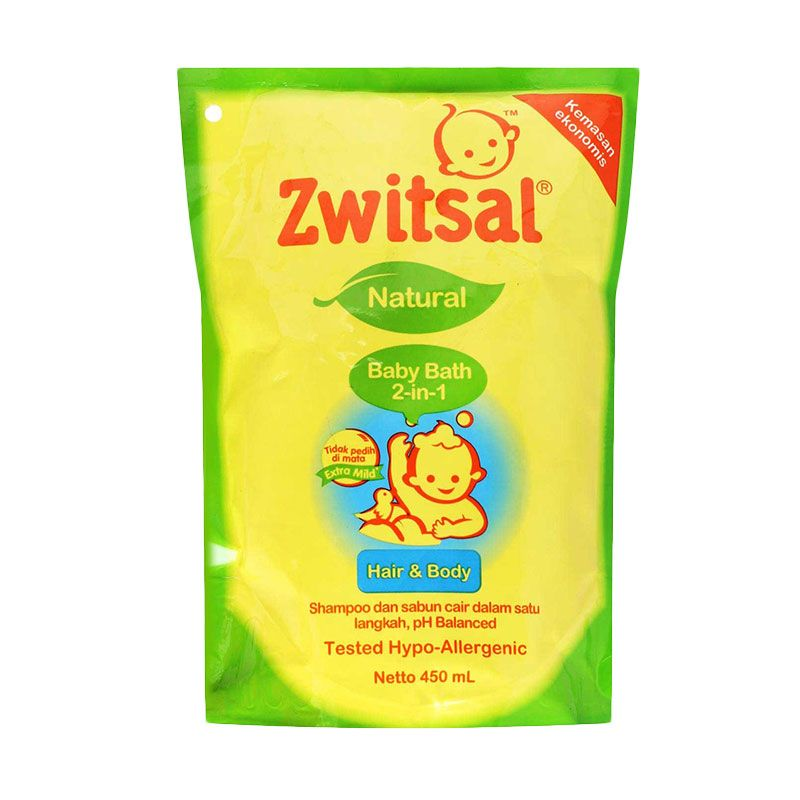 Zwitsal Natural Baby Bath 2in1 Hair & Body 450 mL Refill