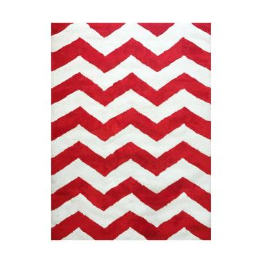 Vision Soft Shaggy Chevron Karpet - Red White [180 x 270 cm]
