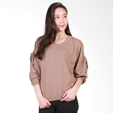 Gaia Tie Sleeve Blouse - Mocca