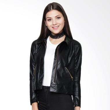 BF Leather Jacket Wanita - Black