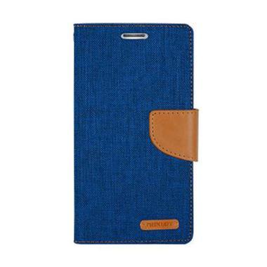 Mercury Canvas Diary Flip Cover Casing for Xiaomi Mi Max - Biru