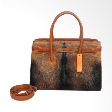 Kenes Leather Kulit Hermes Bulu Tas Wanita - Brown