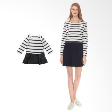 Mooimom One Piece Stripe Dress Set  ... usui & Anak - White Black