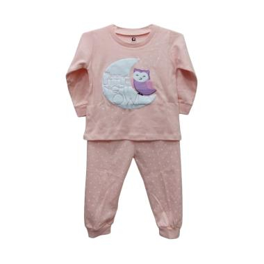 Gracie Motif Owl 04 Baju Tidur Bayi Perempuan - Peach