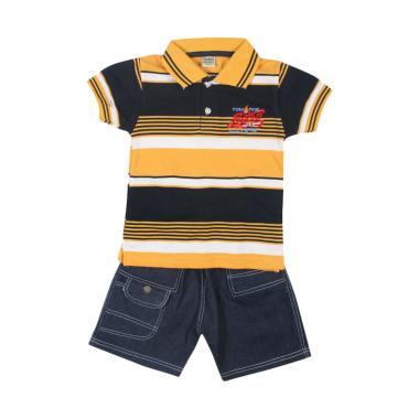 TOMPEGE TP-63504 Kerah Lakos Polo Setelan Baju Anak Laki Laki - Kuning
